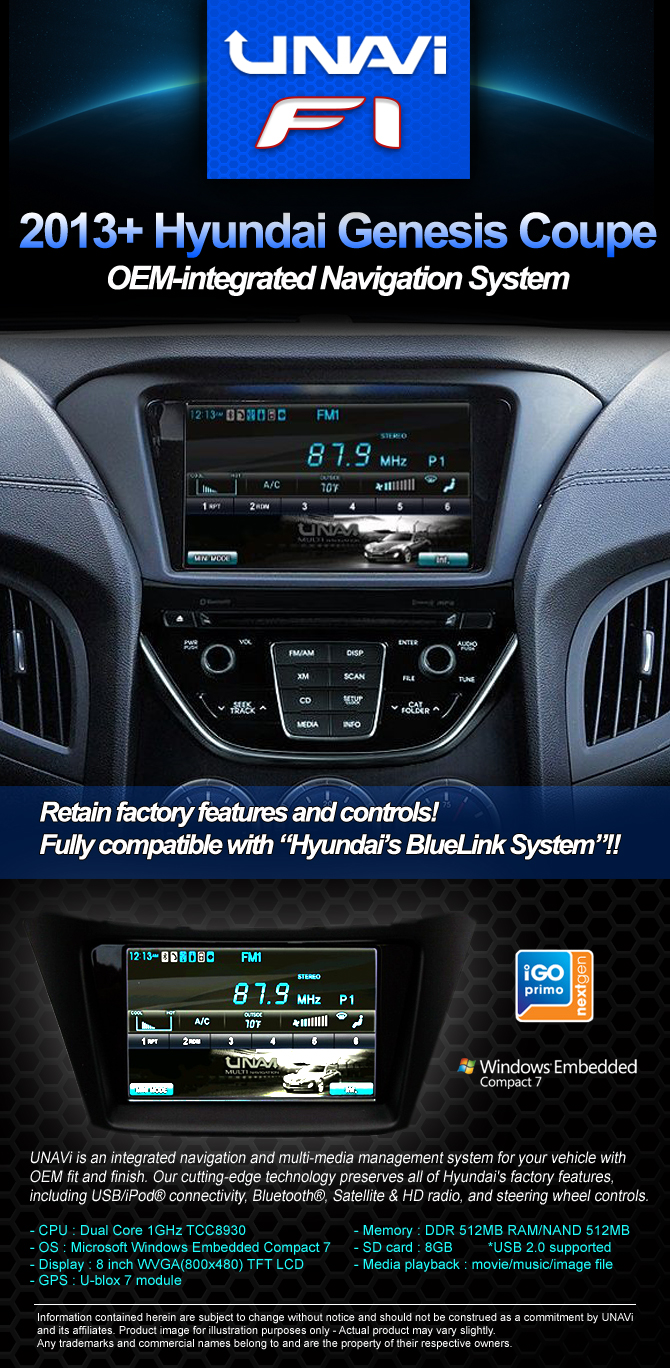 oem integrated navigation system for hyundai genesis coupe. Black Bedroom Furniture Sets. Home Design Ideas