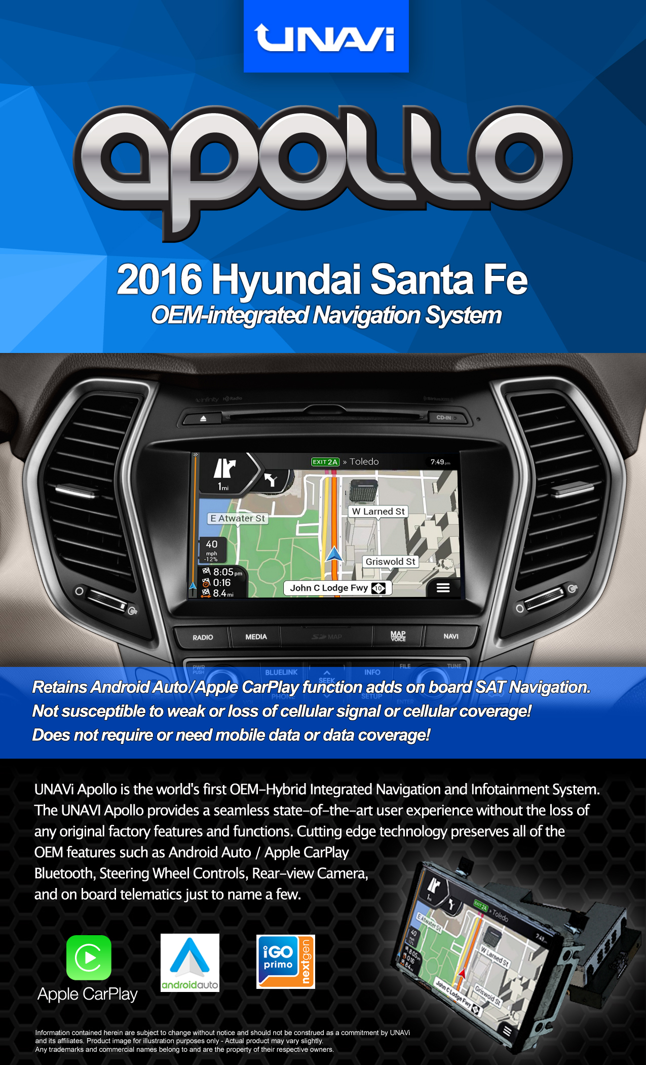 oem integrated navigation system for hyundai santa fe 2017. Black Bedroom Furniture Sets. Home Design Ideas