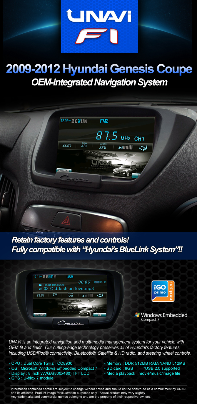 integrated navigation system for hyundai genesis coupe. Black Bedroom Furniture Sets. Home Design Ideas